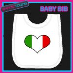 ITALY ITALIAN HEART FLAG I LOVE WHITE BABY BIB EMBROIDERED